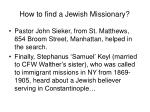 how to find a jewish missionary