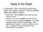 reply to the rabbi