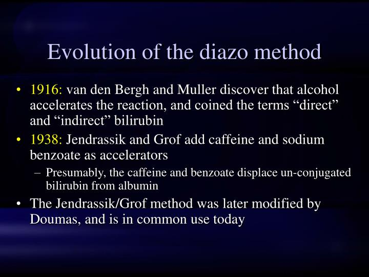Evolution of the diazo method