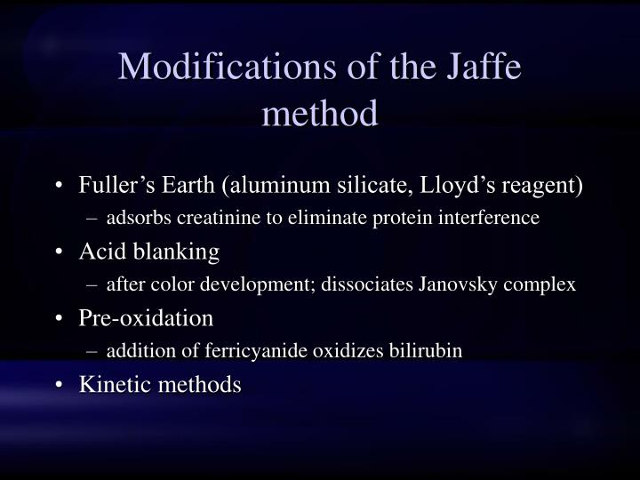 Modifications of the Jaffe method