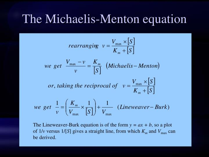 The Michaelis-Menton equation