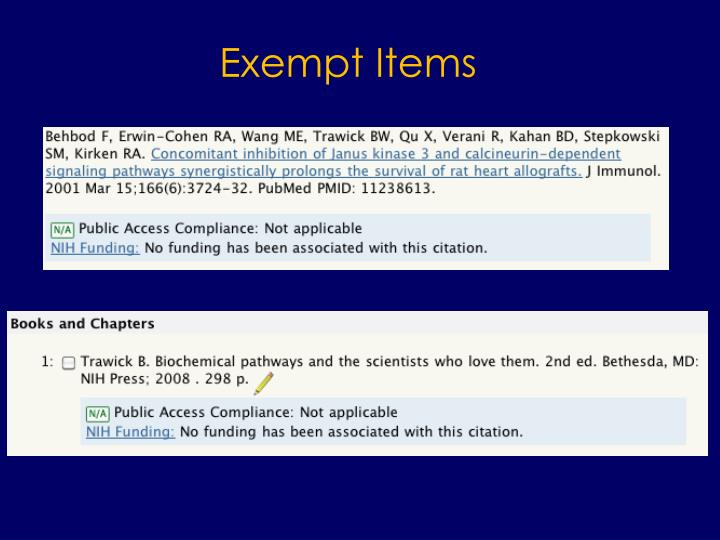 Exempt Items