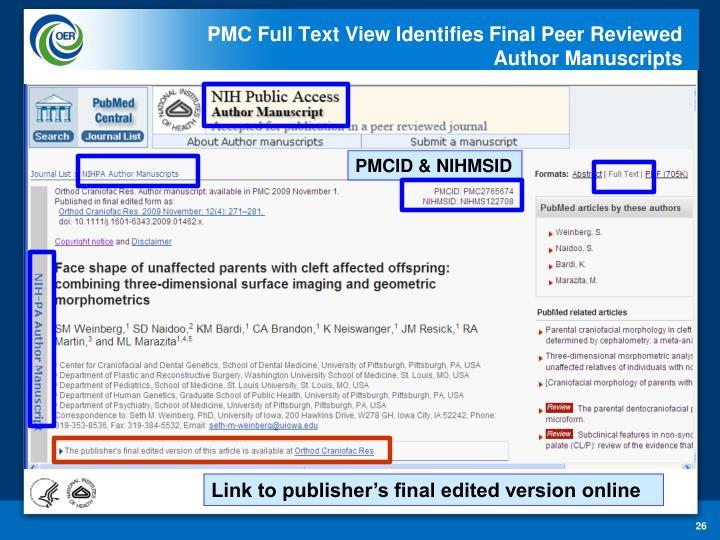 PMC Full Text View Identifies Final Peer Reviewed