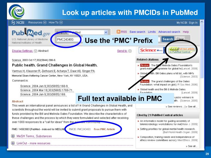 Look up articles with PMCIDs in