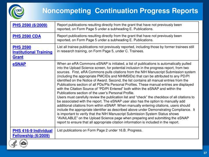 Noncompeting  Continuation Progress Reports