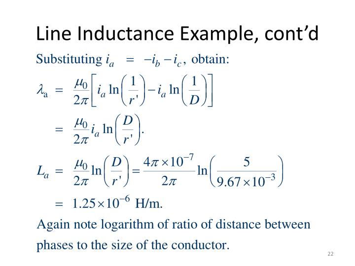 Line Inductance Example, cont'd