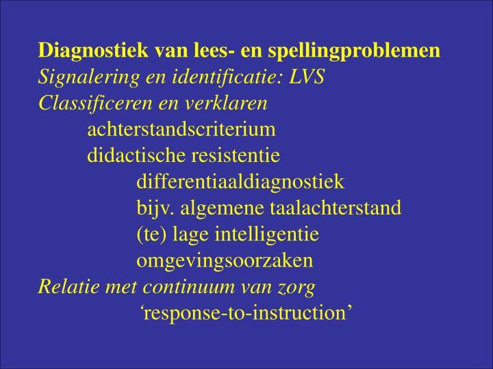 Diagnostiek van lees- en spellingproblemen