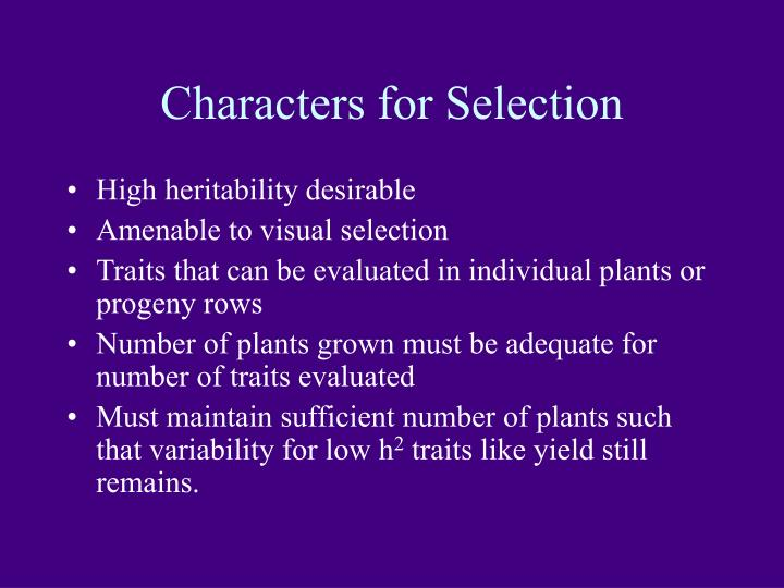 Characters for Selection