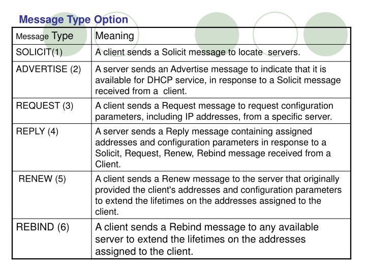 Message Type Option