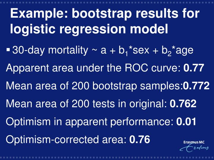 Example: bootstrap results for logistic regression model