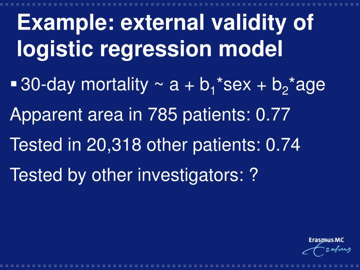 Example: external validity of logistic regression model