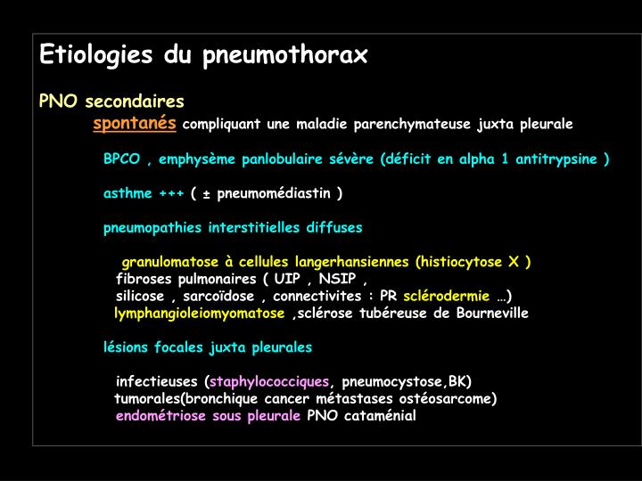 Etiologies du pneumothorax