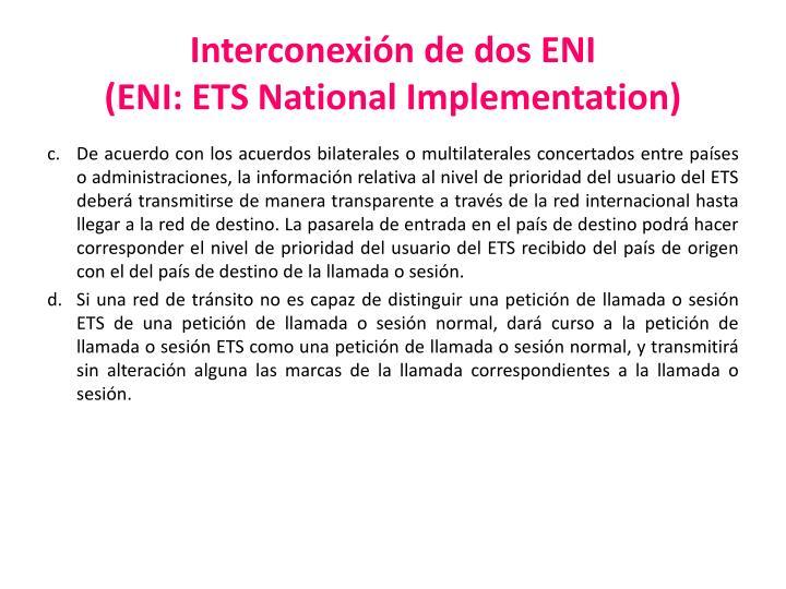Interconexión de dos ENI