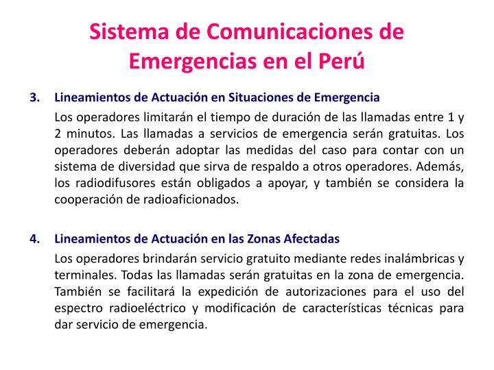Sistema de Comunicaciones de Emergencias en el Perú