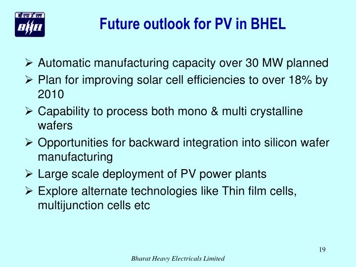 Future outlook for PV in BHEL