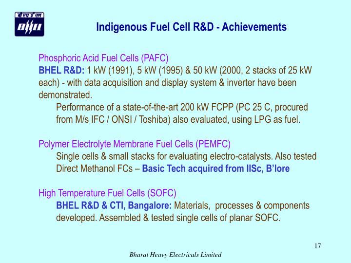 Indigenous Fuel Cell R&D - Achievements