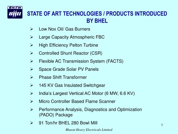 STATE OF ART TECHNOLOGIES / PRODUCTS INTRODUCED BY BHEL