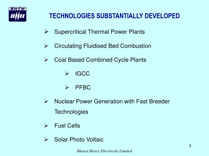 TECHNOLOGIES SUBSTANTIALLY DEVELOPED