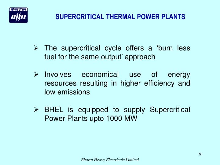 SUPERCRITICAL THERMAL POWER PLANTS
