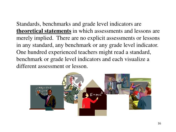Standards, benchmarks and grade level indicators are
