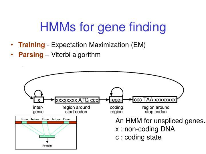 HMMs for gene finding