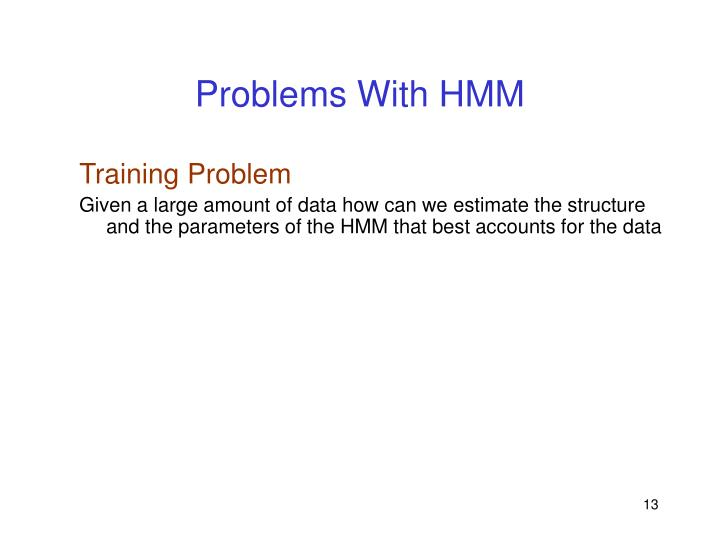 Problems With HMM