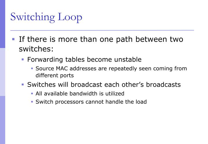 If there is more than one path between two switches: