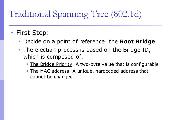 Traditional Spanning Tree (802.1d)