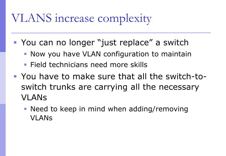 VLANS increase complexity