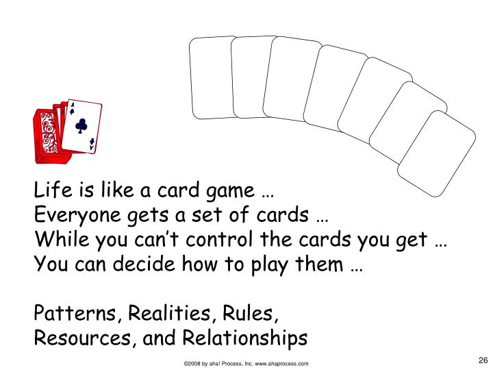 Life is like a card game …