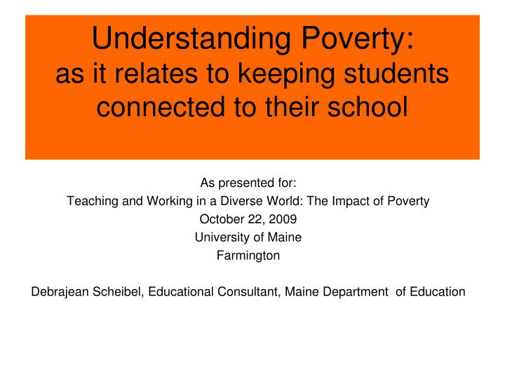 understanding poverty as it relates to keeping students connected to their school