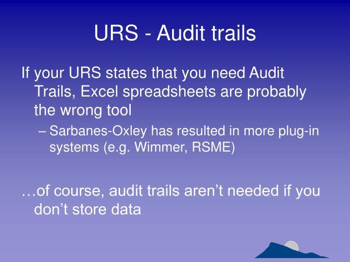 URS - Audit trails