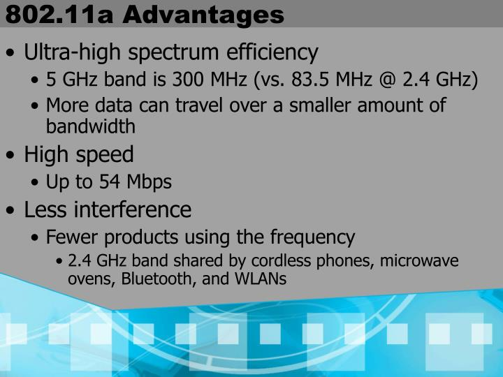 802.11a Advantages
