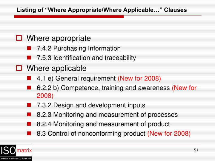 """Listing of """"Where Appropriate/Where Applicable…"""" Clauses"""