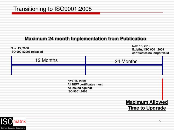 Transitioning to ISO9001:2008