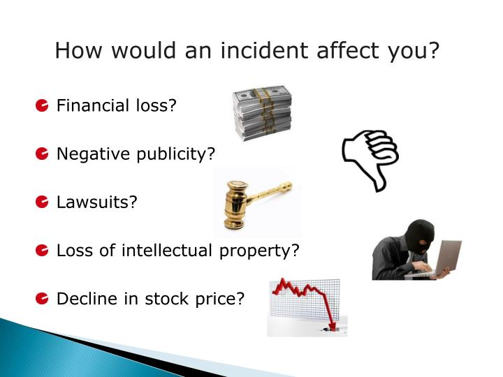 How would an incident affect you?