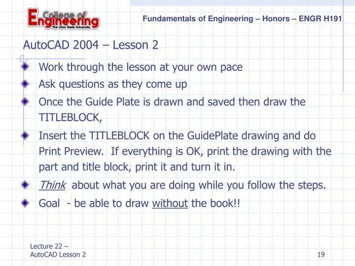 AutoCAD 2004 – Lesson 2
