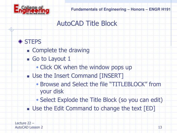 AutoCAD Title Block