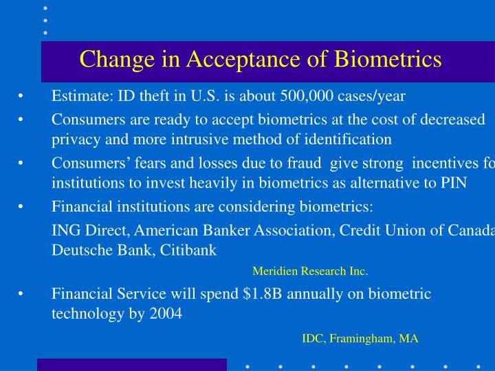 Change in Acceptance of Biometrics