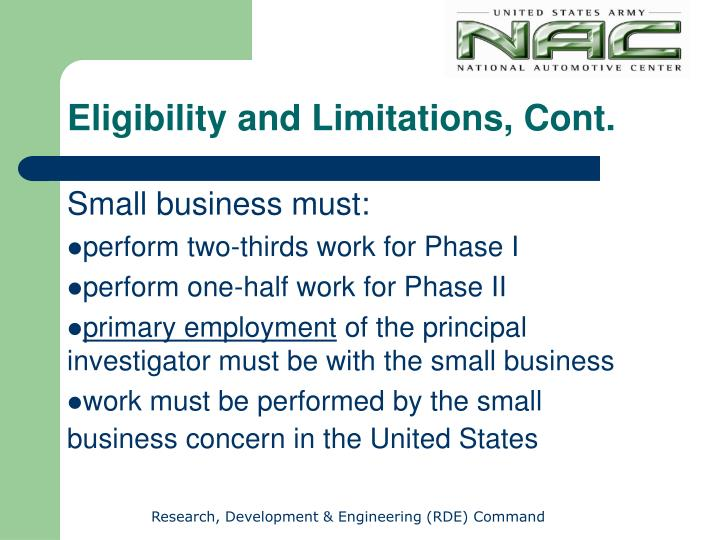 Eligibility and Limitations, Cont.