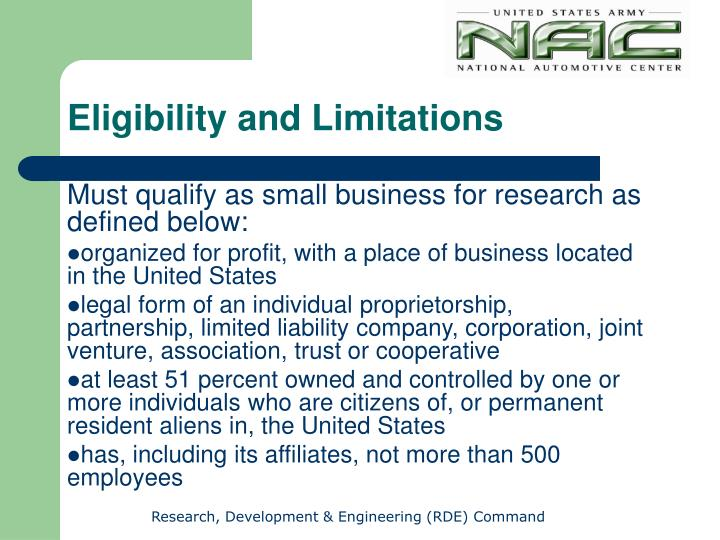 Eligibility and Limitations