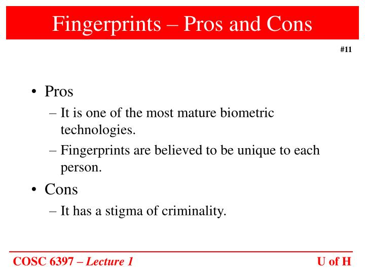 Fingerprints – Pros and Cons