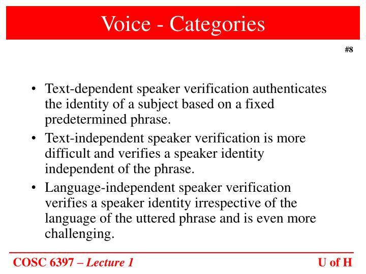 Voice - Categories