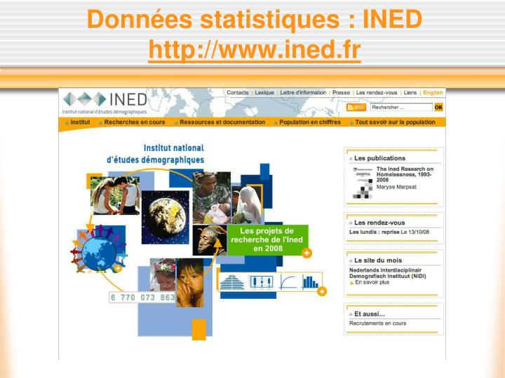 Données statistiques : INED