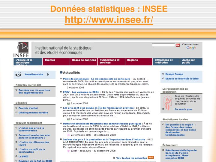 Données statistiques : INSEE
