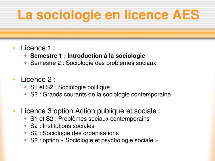 La sociologie en licence AES
