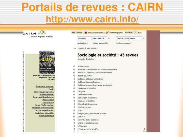 Portails de revues : CAIRN