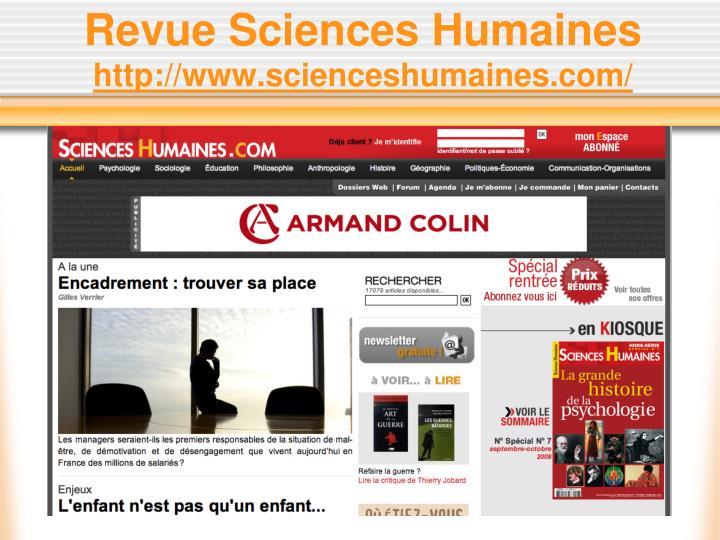 Revue Sciences Humaines
