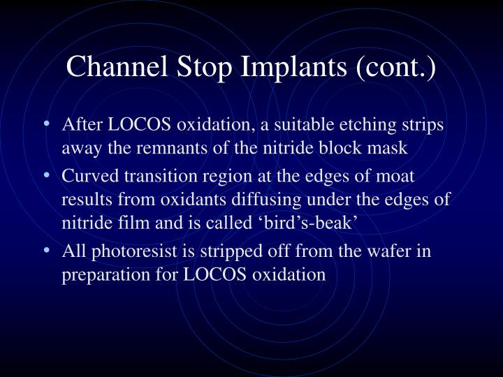 Channel Stop Implants (cont.)