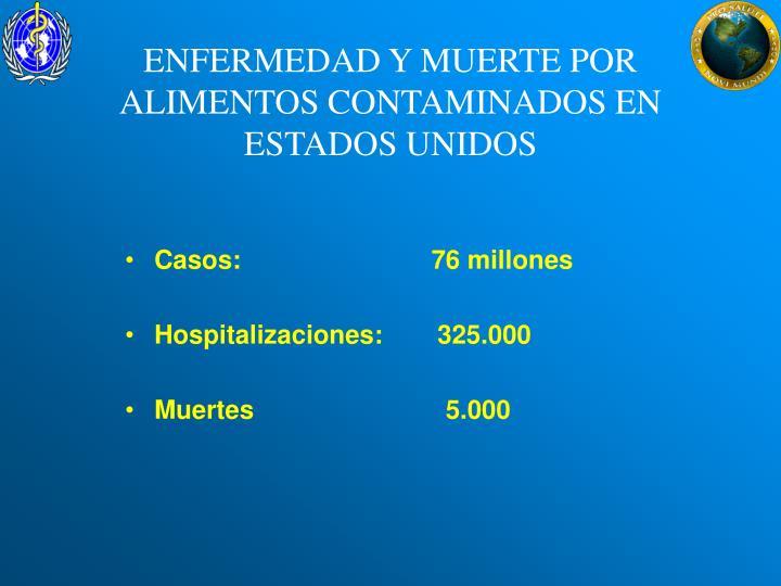 ENFERMEDAD Y MUERTE POR ALIMENTOS CONTAMINADOS EN ESTADOS UNIDOS